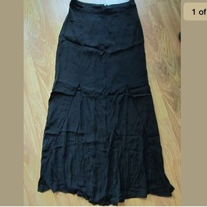 New Look Black 2 Front Slits Maxi Long Skirt Soft